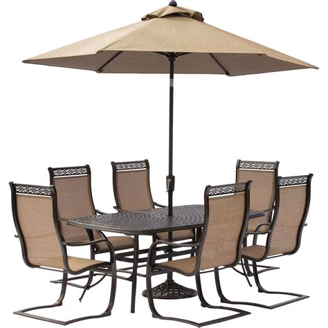 Hanover Manor 7 Piece Aluminum Rectangular Outdoor Dining
