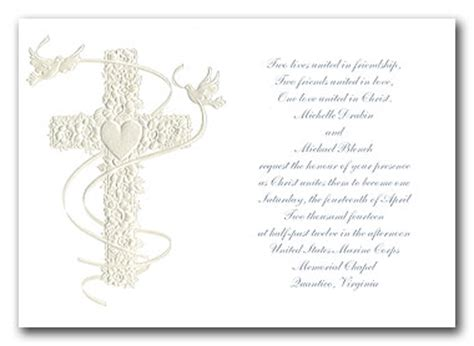 perfect religious christian wedding invitation cards white