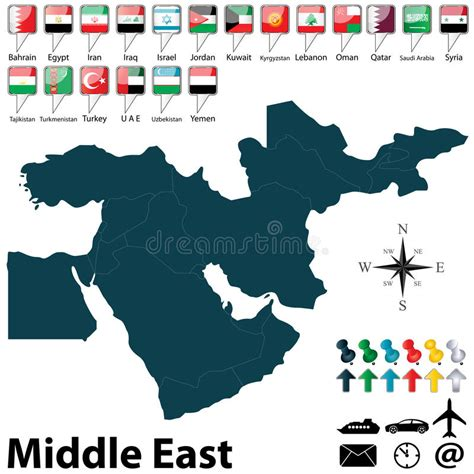 middle east map vector free political map of middle east royalty free stock photo