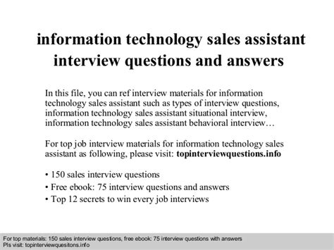 information technology sales assistant questions