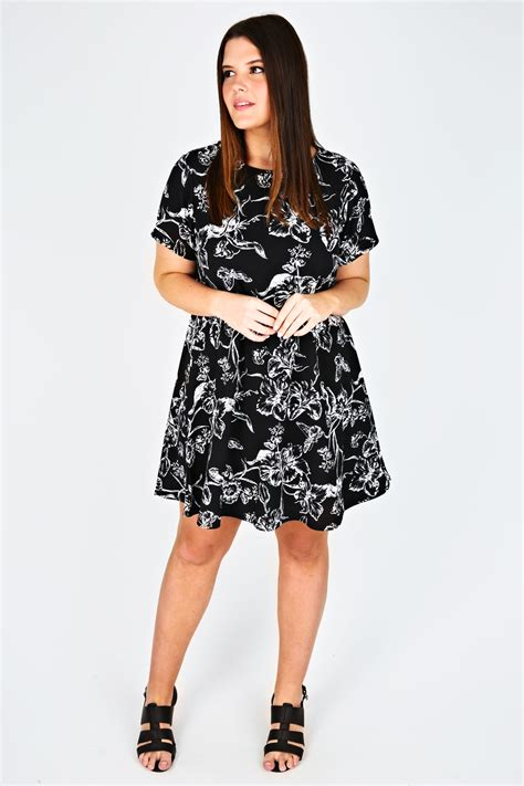 swing dress code monochrome floral textured swing dress plus size 14 16 18