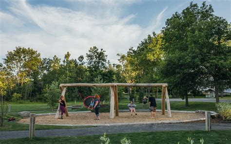 log swing set natural playground ontario earthscape