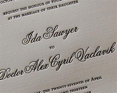 Letterpress Invitations by Letterpress Wedding Invitation Sle Wedding Invitation