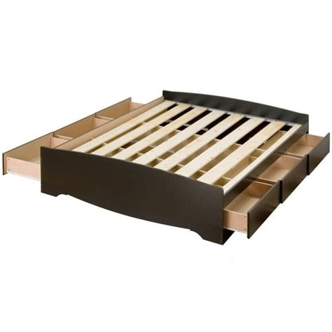 Platform Bed With Storage Drawers Prepac Sonoma Black King Platform Storage Bed With 6 Drawers Ebay