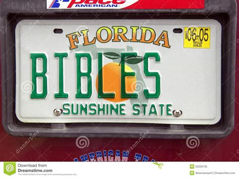vanity license plate florida editorial image image