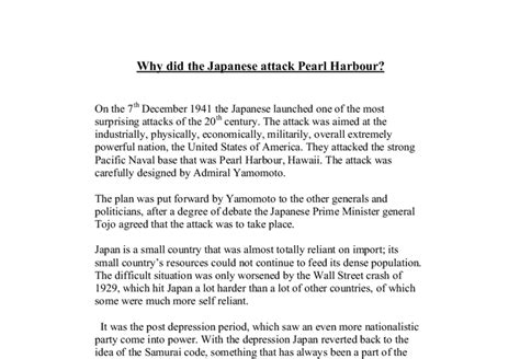 Attack On Pearl Harbor Essay by Why Did The Japanese Attack Pearl Harbour A Level History Marked By Teachers