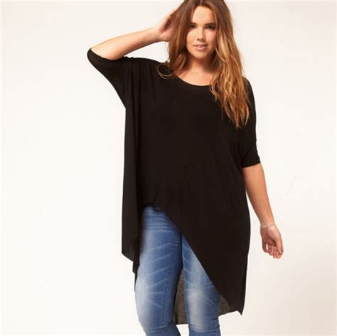 Blouse Katun Bigsize 5 6xl plus size irregular t shirt 5xl black large big size blouses 2015 summer