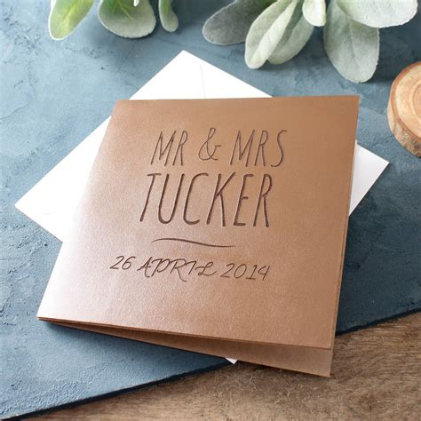 Wedding Anniversary Gift Leather by Engraved Leather Anniversary Card By No Ordinary Gift