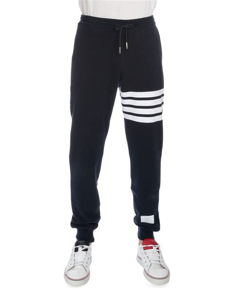 Striped Drawstring Sweatpants thom browne drawstring cotton sweatpants with leg stripe