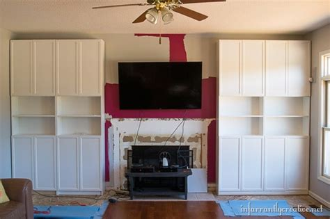 ikea bookcases around fireplace family room makeover part 1 installing ikea billy