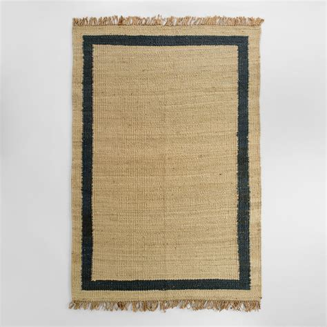 Navy Jute Rug by Navy Bordered Woven Jute Area Rug World Market