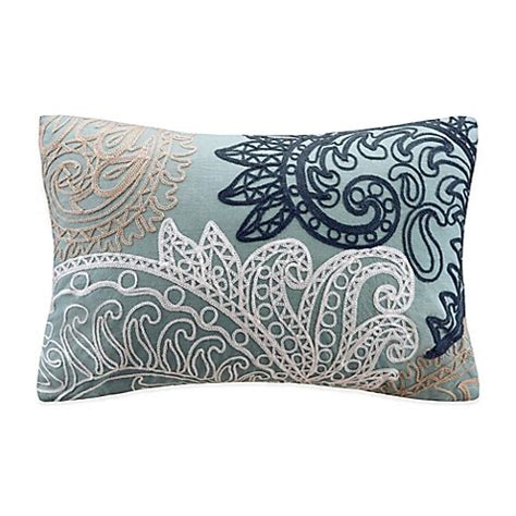 blue throw pillows for bed buy ink ivy kiran embroidered oblong throw pillow in blue