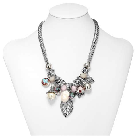 silver charm necklace pearl multi charm necklaces