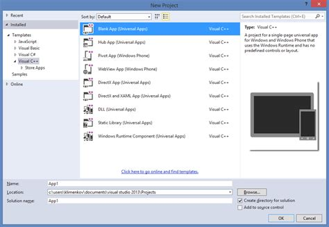 design application visual studio can t create c console application in visual studio 2013