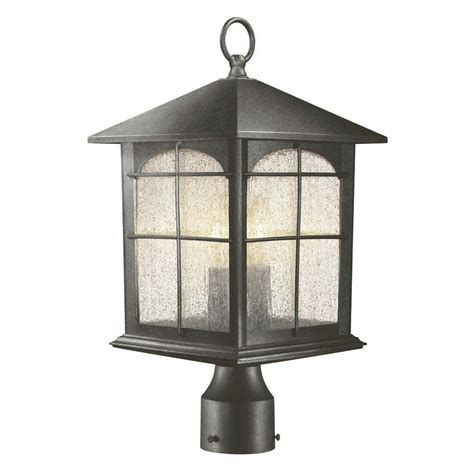 outdoor post light fixture hton bay 3 light aged iron outdoor post lantern y37031