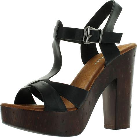 top moda womens pony 9 t faux wooden platform chunky