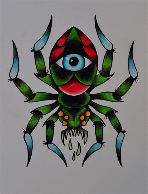 traditional spider tattoo spider by beyondedge on deviantart