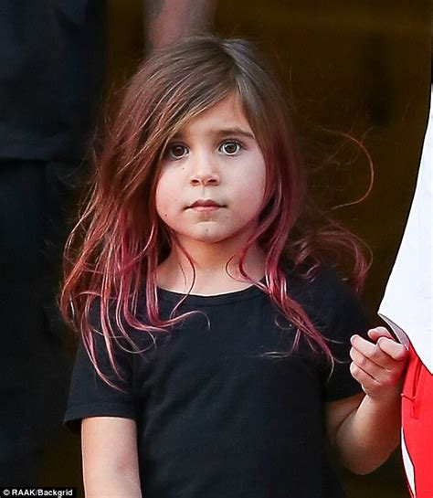 new hairstyle for a 63 year old brunette woman kourtney kardashian s daughter penelope debuts purple hair
