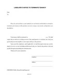 Tenancy Agreement Notice Letter Tenant Lease Termination Letter From Landlord Landlord