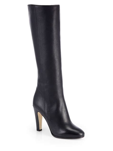 jimmy choo mandel leather knee high boots in black lyst