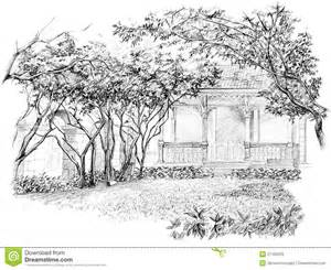 How To Draw A Garden With Flowers Pencil Perspective Drawing Of Garden Stock Photos Image 27492233