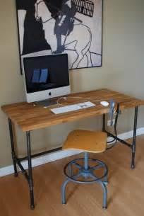 Industrial Island Computer Desk Industrial Desk With Oak Top And Steel Pipe Legs
