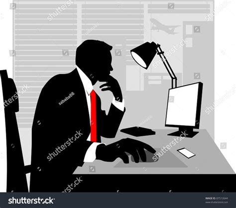office worker at desk office worker asleep his desk stock vector 87512644