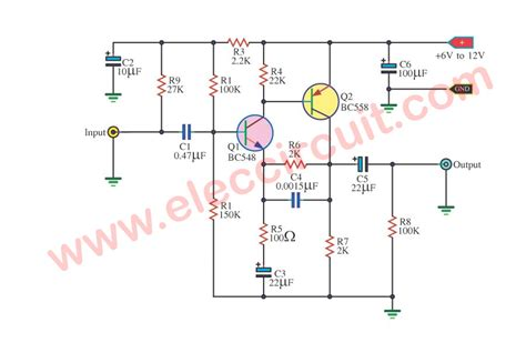 bc548 transistor circuit four prelifier circuits using transistors