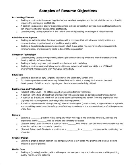 general objective for resume exles sle resume objective exle 7 exles in pdf