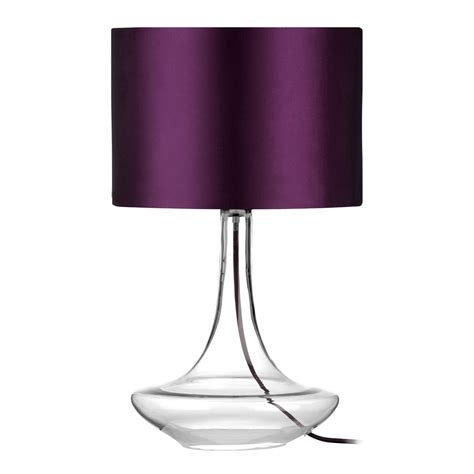 Glass L Base With Shade by Clear Glass Base Table L With Purple Shade Ebay