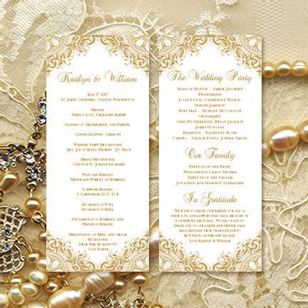 Wedding Anniversary Brochure by Wedding Ceremony Program Template Vintage Gold