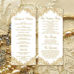 wedding ceremony program template vintage gold