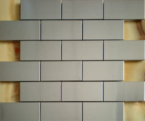 brushed silver metallic mosaic wall tiles backsplash