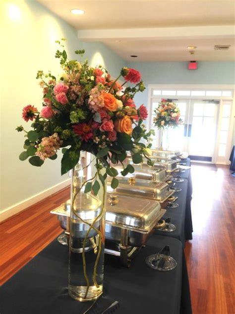 tall pedestal flower arrangement for the buffet table
