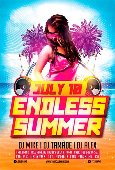 Download Endless Summer Party Flyer Template For Photoshop Summer Flyer Templates