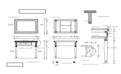 wooden table all detail in dwg file