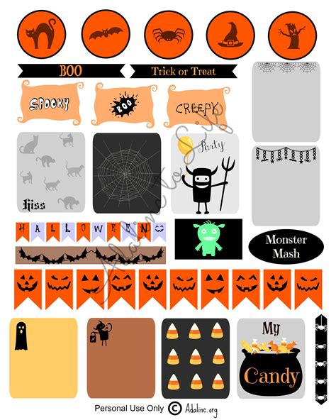 printable stickers for halloween halloween planner stickers and free printables adalinc