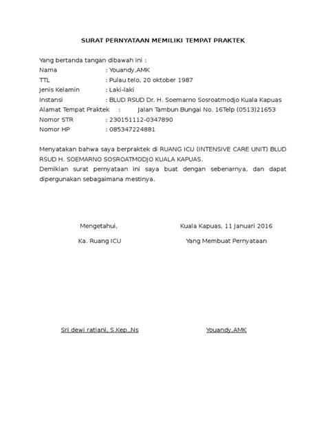 format surat keterangan yatim piatu surat pernyataan memiliki tempat praktik