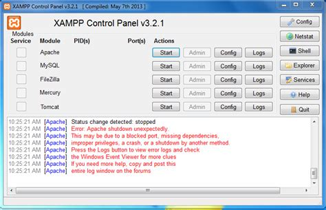 xp configure apache port 443 xampp error error port tutorial