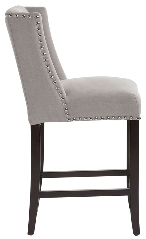 Gray Fabric Counter Stools by Marlin Vintage Linen Grey Fabric Counter Stool 100532