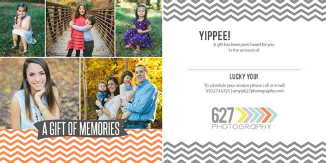 Photography Gift Card - gift certificates give the gift of memories 187 627 photography cary nc senior