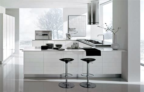 Modern white and chrome kitchen