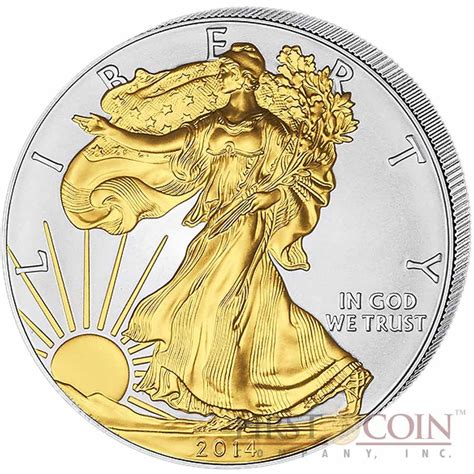 10 Oz Silver Eagle Coin by Usa American Silver Eagle 1 Gilded 2014 Silver Coin 1 Oz