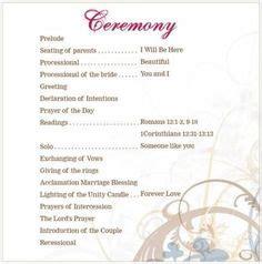 wedding ceremony outline order  wedding ceremony