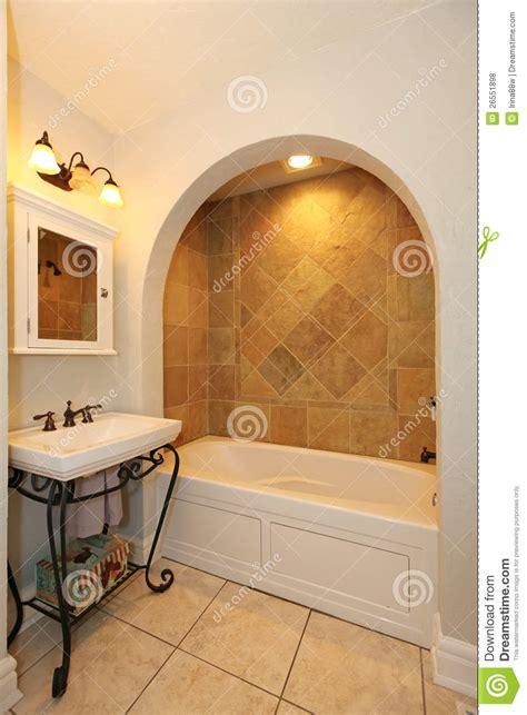 tub arch stone tiles sink bathroom stock photo image design simple