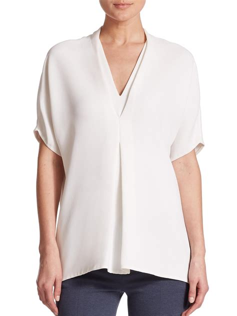 draped white top vince draped crepe top in white lyst