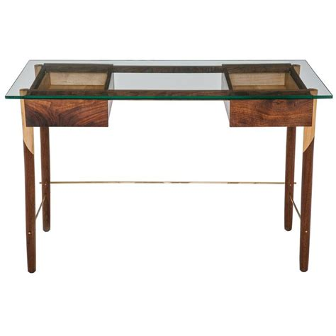 writing desk with walnut maple brass and glass top for