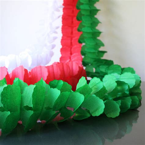 paper tissue christmas garland decorations by pearl and
