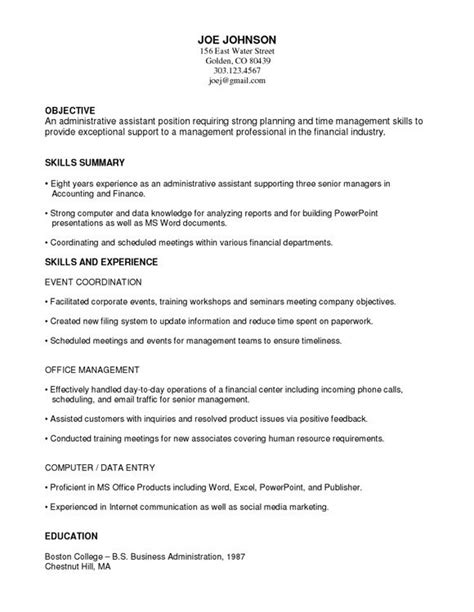 exle of functional resume for 14 best administrative functional resume images on
