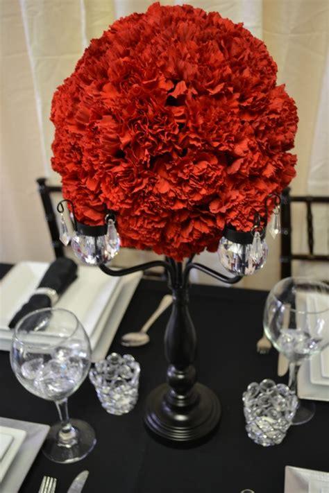 Crystal Trimmed Black Candelabra Centerpiece With Red Black Candelabra Centerpieces